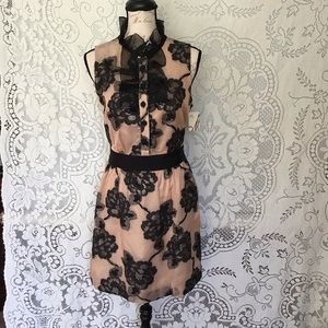 Milly-Nude Colored Dress with Embroidered Flowers